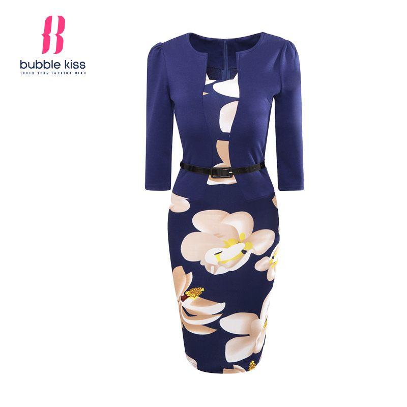 Wholesale- 2017 Hot Summer Women Bodycon Dress Office Dress Patchwork Fake Two Piece Belt Floral Print Pencil Vestidos De Festa Bubblekiss