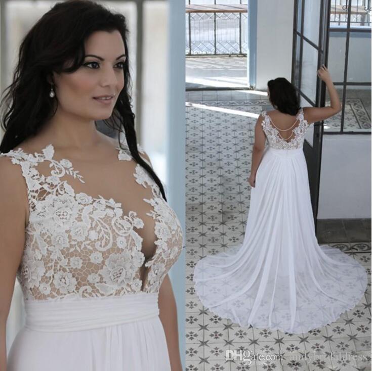Robes de mariée de plage de taille Plus une ligne Sheer Bateau Cou Sweetheart dentelle Top robes de mariée Blanc Nude pas cher de haute qualité robes de mariée