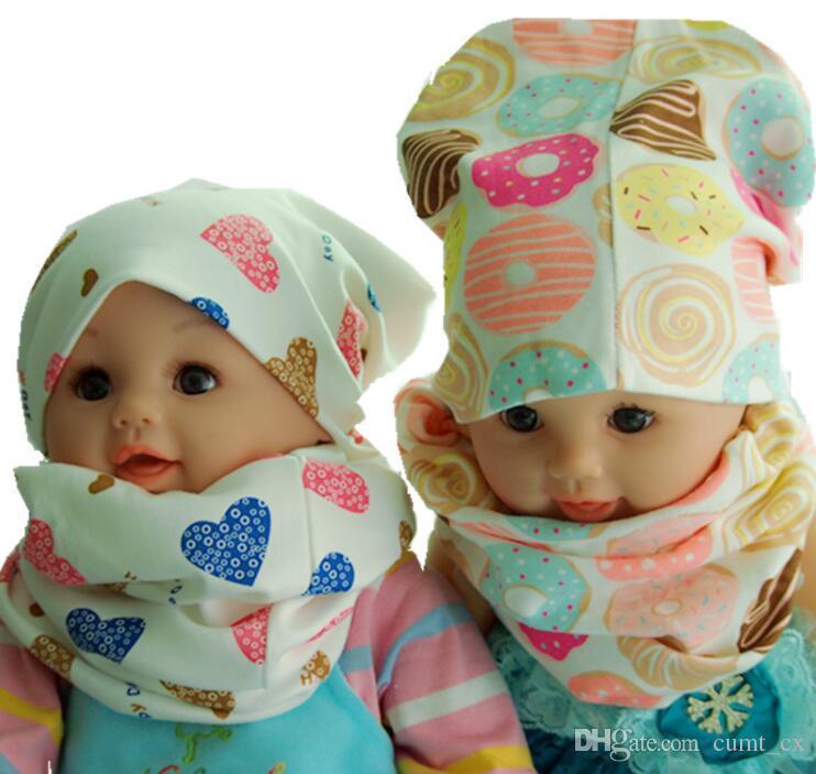 Neue Mode Kinder Hut Schal Herbst Winter Häkeln Baby Hüte Mädchen Jungen Mütze Mützen Baumwolle Kinder Kragen unter 52 cm kopf setzt