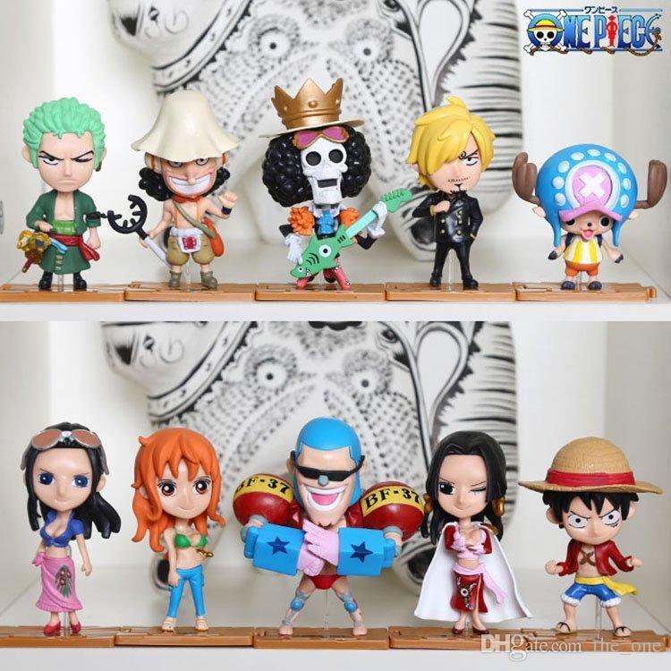 Ein Stück 10 stücke set Ruffy Nami PVC Japanischen Anime Action-figuren Spielzeug Brinquedos Sammlung Modell Puppe Geschenk Für Jungen freies verschiffen
