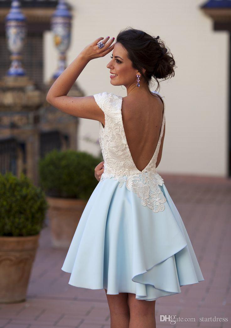 Sexy Baby Blue Linia 2018 Prom Dresses Piękna długość kolana Top Koronki Otwórz Wróć Wieczór Party Suknia Afryki Krótka Prom Dress