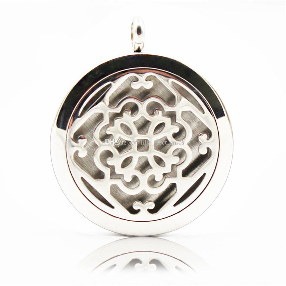 Aromatherapy Essential Oil Diffuser Necklace Hollow Flower Pattern 316L Stainless Steel Locket Pendant with Ajustable Chain 6 Refill Pads