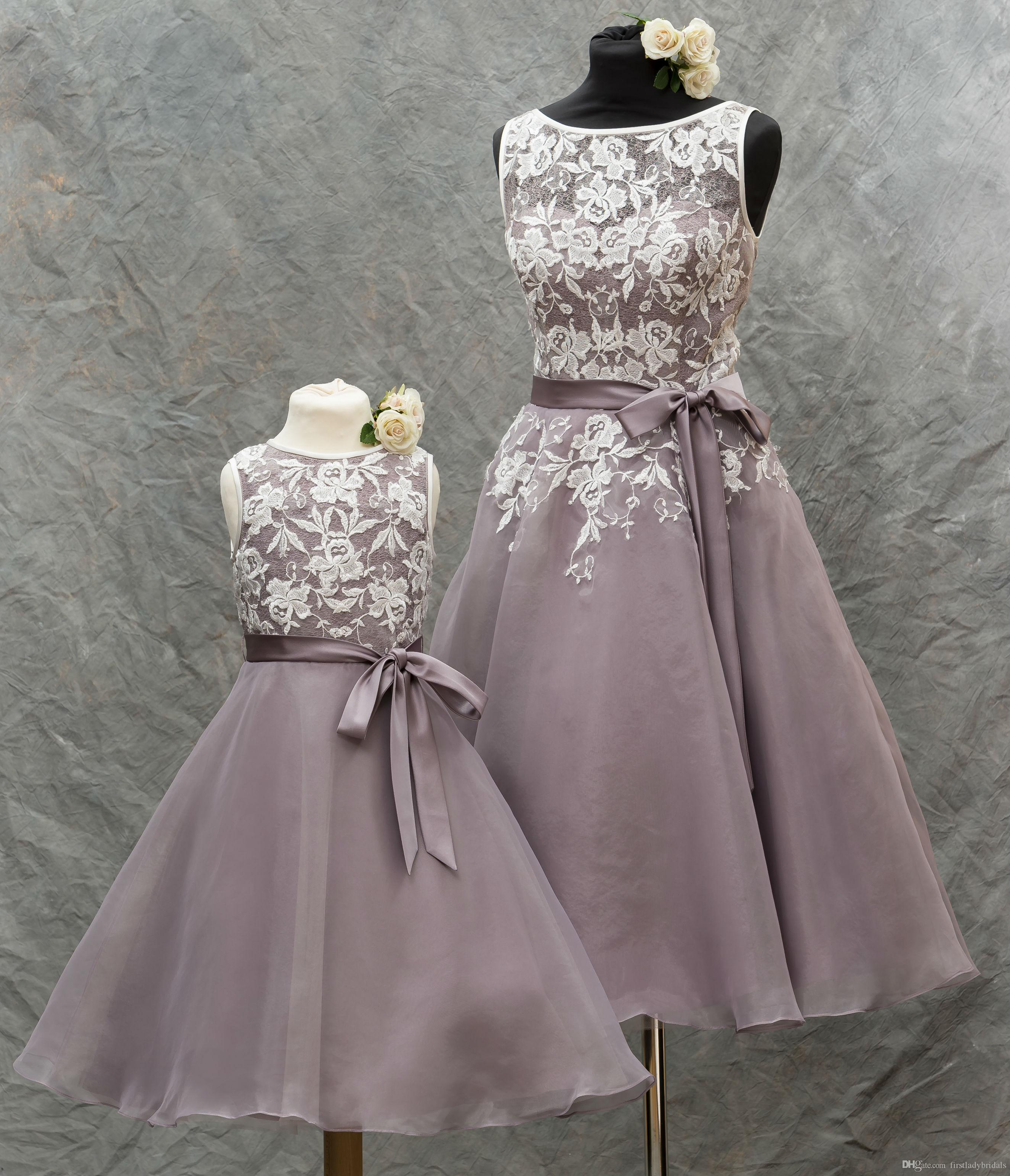 Cheap tea length bridesmaid dresses 2016 lace appliques sheer tea length bridesmaid dresses 2016 lace appliques sheer bateau neck lavender organza wedding party gowns with sash cheap free shipping ombrellifo Images