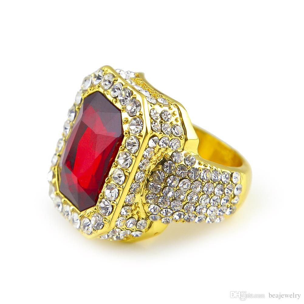 Men' 14k Gold Plated Red Ruby Hip Hop Men Ring Famous Brand Iced Out Micro Pave Cz Ring Punk Rap Jewelry Size Available