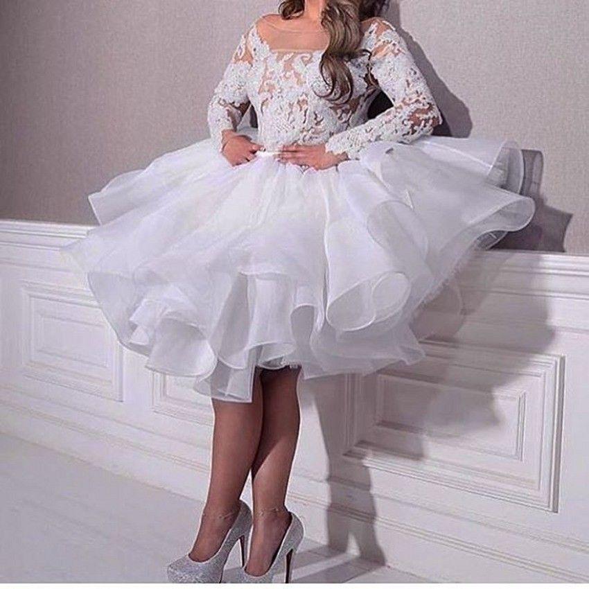 Langarm Spitze Weiß Prom Party Kleider Arabisch Mittlerer Osten Knielangen A Line organza Robe de Soiree Formale Abend Pageant Kleider