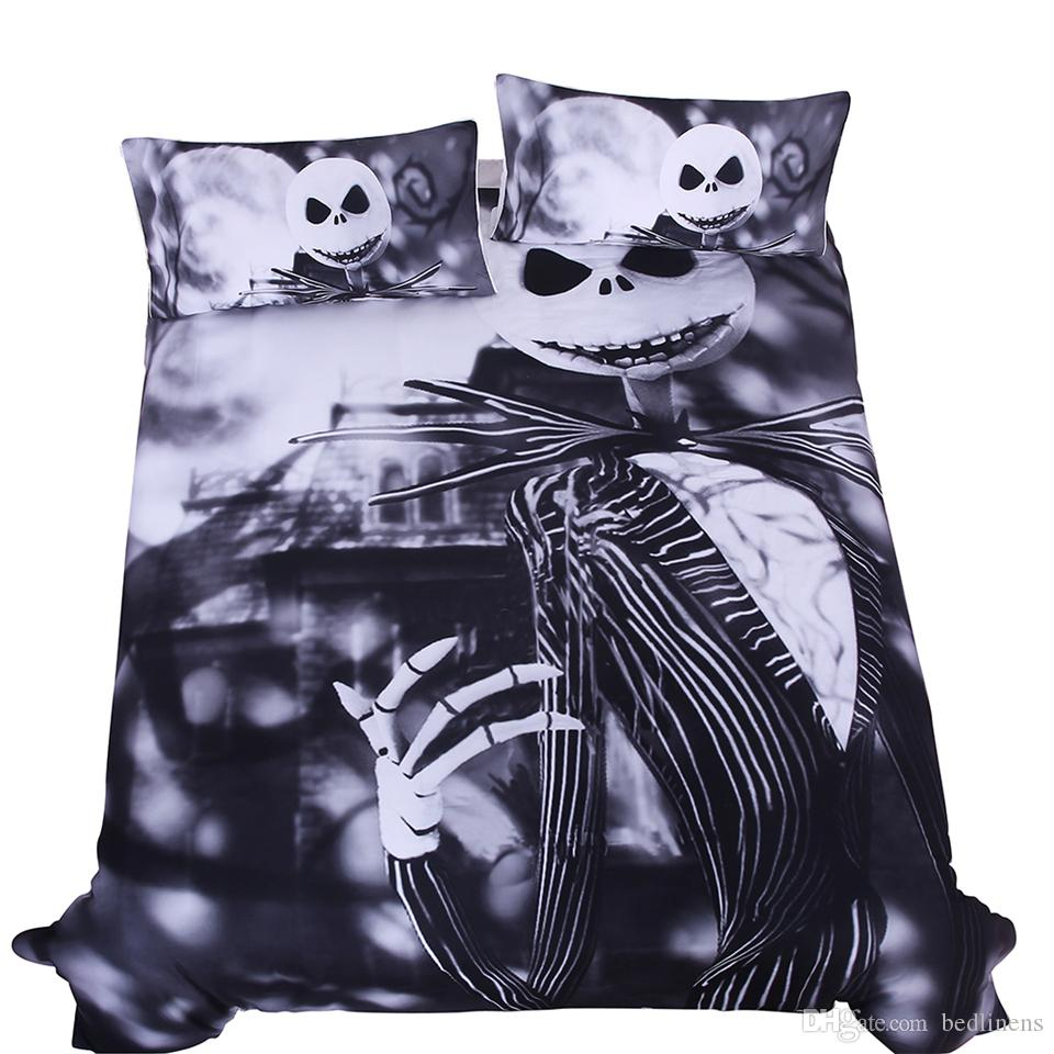 Fashion Design White Black Scary Skull Reactive Printing Bedding Set Twin Full Queen King Size Bedroom Decoration Duvet Cover Pillow Shams