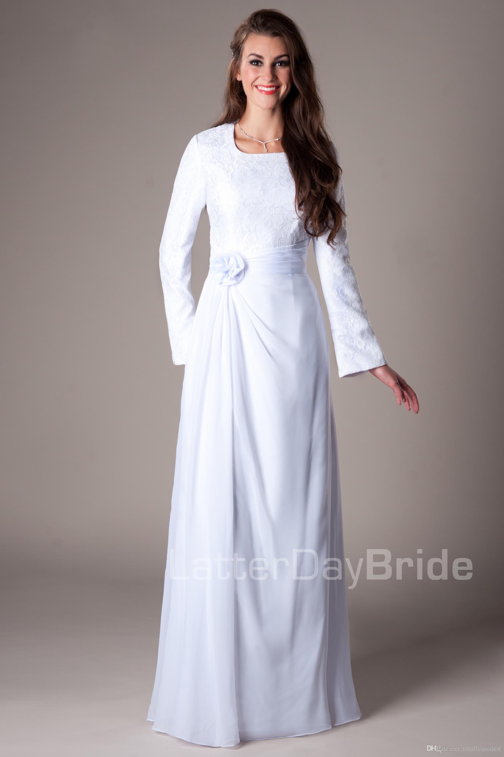빈티지 화이트 레이스 쉬폰 긴 소매 사원 겸손한 웨딩 드레스 비공식 리셉션 가운 긴 바닥 길이 라인 신부 가운