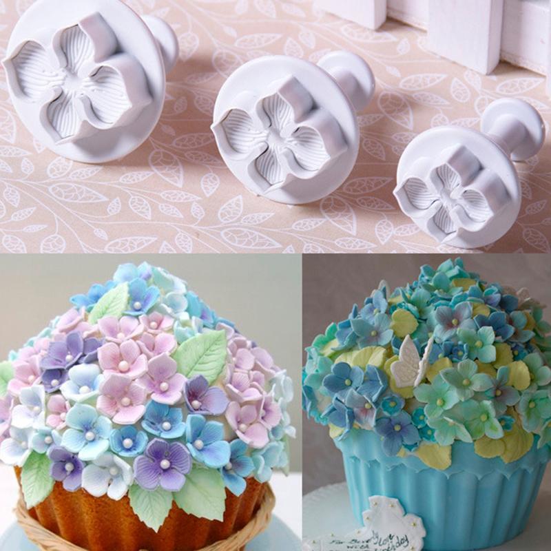 El moho 3pcs Hortensia pasta de azúcar que adorna el cortador del émbolo de Sugarcraft flor