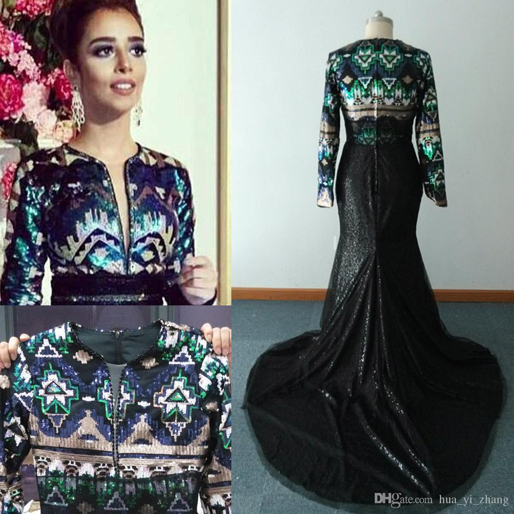 実際のスパンコールのイブニングドレス2016幾何学的なパターンのマーメイドVネック長袖の床の長さの掃引列車のプロムのガウン