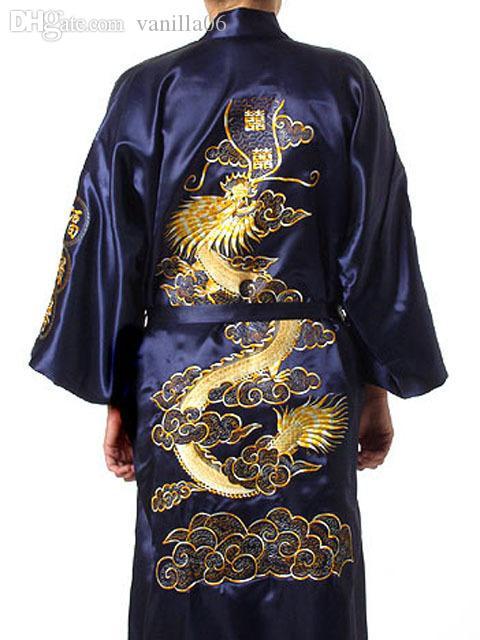Wholesale-Free Shipping Blue Chinese Men Satin Silk Embroidery Robe Kimono Bath Gown Dragon Nightwear Size S M L XL XXL XXXL S0009#