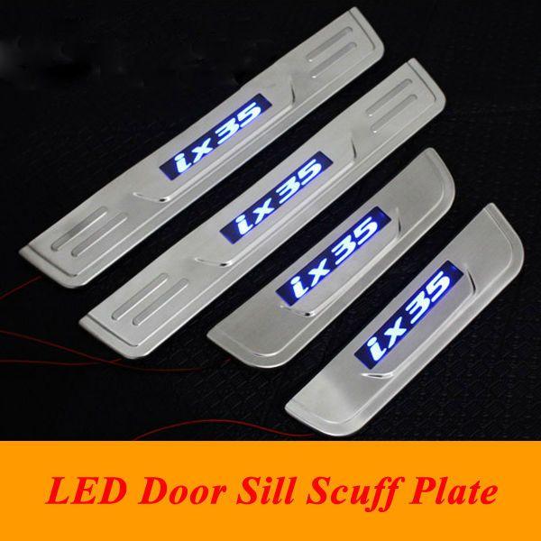 Hyundai ix35 de acero LED del travesaño de la puerta placa del desgaste del travesaño de la puerta Umbral para 2010- 2013 2014 2015 Hyundai IX35 Accesorios para el coche