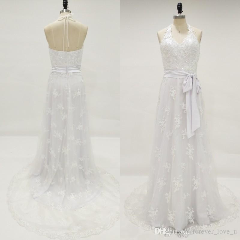Land-Art-Strand-Hochzeits-Kleid-Böhmische Spitze-Halter-Sleeveless geöffneter zurück Boho-Brautkleid-Korn-Sequins-Brautkleider mit Schärpe