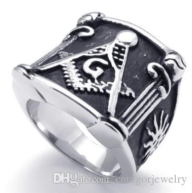 Масонское литье из нержавеющей стали 316L Организация масонов Кольца с символами SZ # 8-15, Свободные и принятые масоны