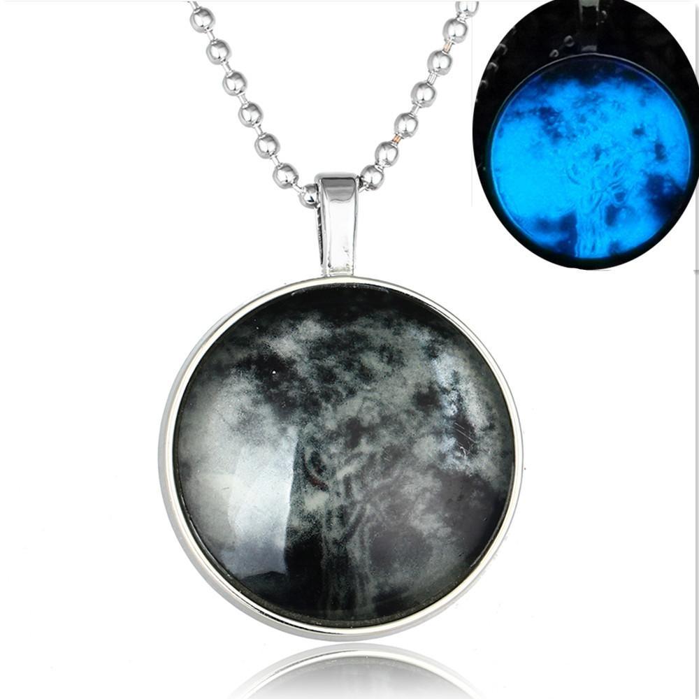 Joyas de plata y americanos retro Moonlight Tree of Life collar colgante para hombres y mujeres de primavera y verano