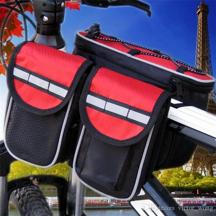 Impermeabile 3 colori Doppi lati Sella Ciclismo MTB Borse bici Sport Telaio anteriore Borse bici da corsa per ciclismo all'aperto