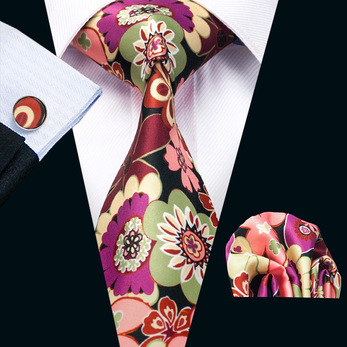 نمط جديد من الرجال مطبوعة العلاقات مزج اللون زهرة نمط الزفاف الأسود الأعمال الحرير التعادل مجموعة تشمل التعادل أزرار أكمام منديل N-1257