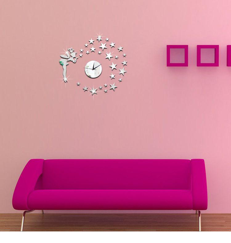 Diy 3d Wall Clock GoldSilver New Acrylic Girl Star Mirror Sticker