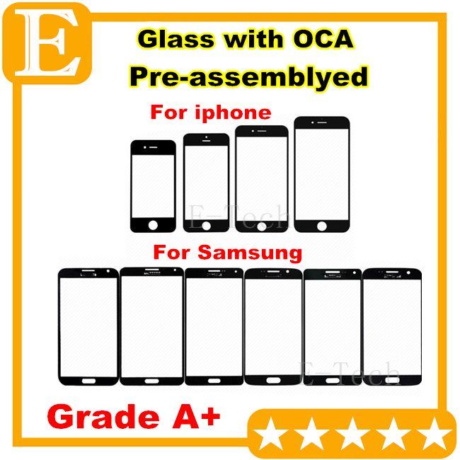 für Samsung Galaxy S6 E7 Front Outer Glasobjektiv mit OCA Film Pre-assembliert für iphone 6 6S Plus Balck White Grade A + 50Pcs