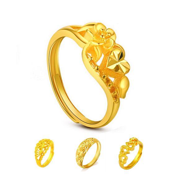 2016 en gros coeur jaune bague de mariage pour les femmes, 24k plaqué or marier mariée accessoires de bijoux de fête