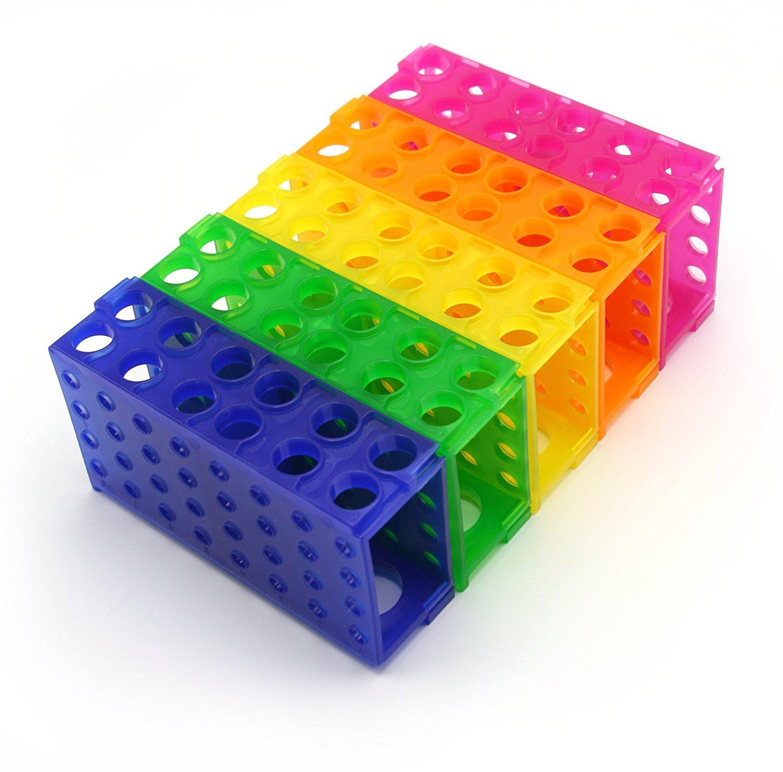 Rack a 4 vie, polipropilene, colori assortiti, blu, verde, rosa, giallo, arancione (confezione da 5)