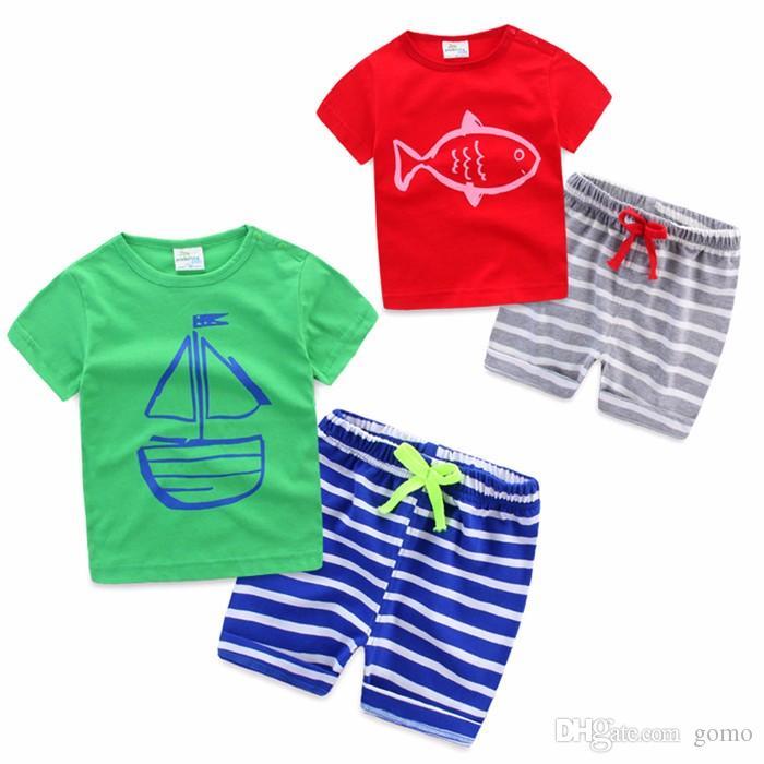 Kids Boy Cartoon Clothing 2 PCS Set Kids Baby Boy Summer Clothes Sets Pirate Ship Printed T-Shirt+ Stripe Pant