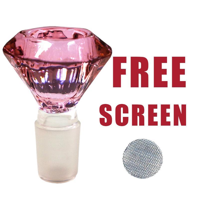 18 / 19mm Glas Diamond Bowl Kraut Halter Mischfarbe 5 Free Screens Kostenloser Versand
