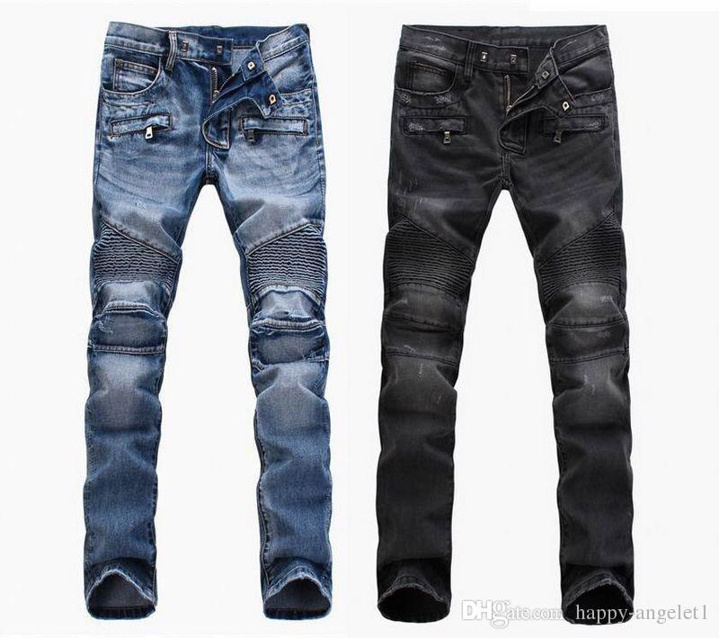 commercio estero luce blue jeans pantaloni neri Motociclista uomini di lavaggio degli uomini di modo a fare il vecchio uomini piega pantaloni pista casuale Denim