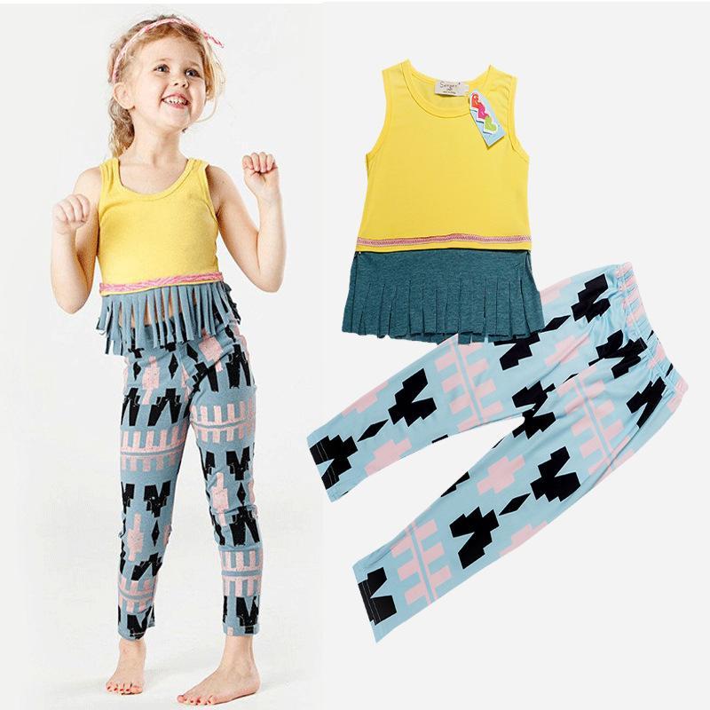 2016 INS bébé fille 2pcs costumes manches longues t-shirts + pantalon 2pcs / set bébé fille tenues enfants vêtements ensembles