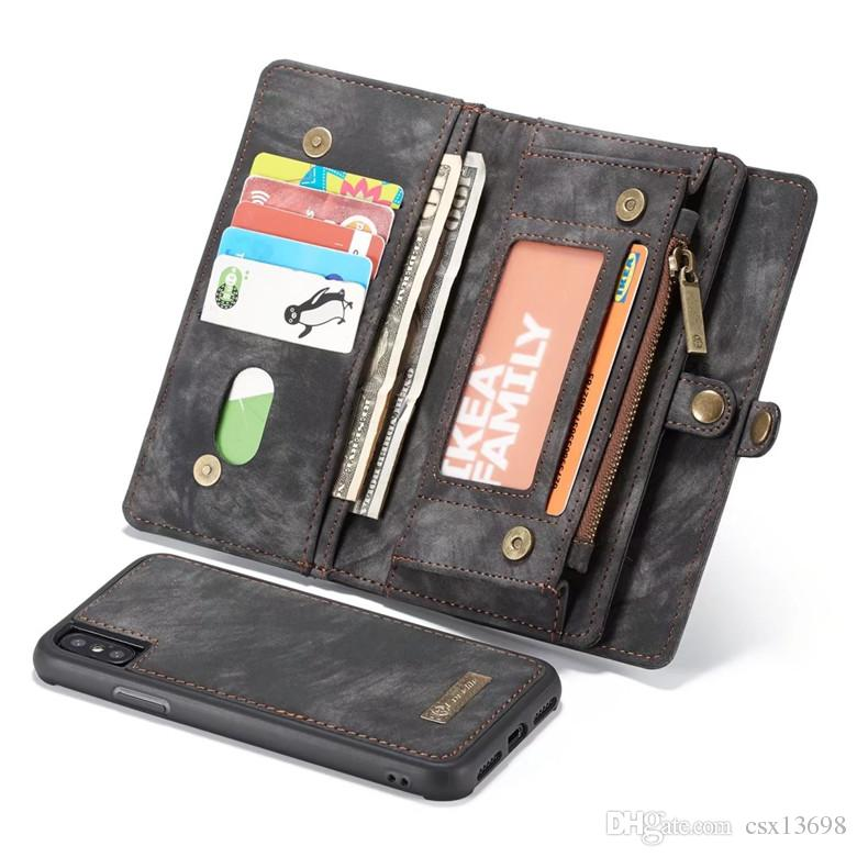 For iPhone 11 Pro X XS Max 8 7 Plus 2 in 1 Magnetic Magnet Detachable Removable Wallet Leather case Cover For Galaxy S20 S10 S9 Note 20 10 9