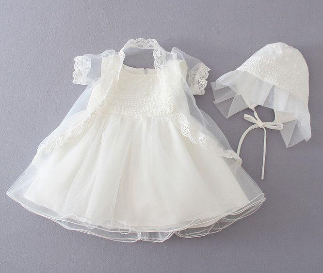 Abito estivo 2016 vestito bambino Battesimo Abito battesimo Abito neonato 3 pezzi / set Abito da principessa infantile da bambina