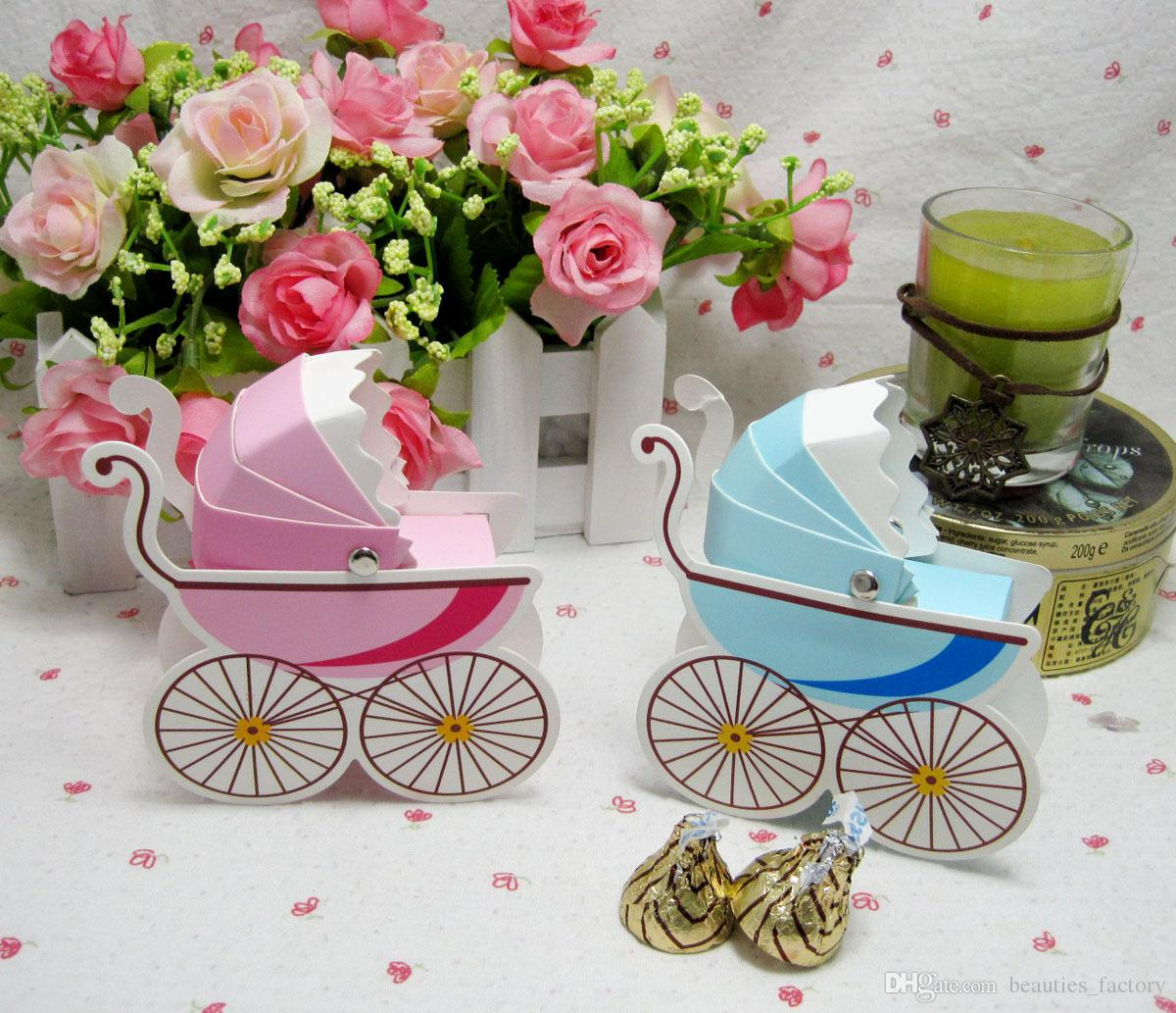 50pcs Pink Baby's Stroller Candy Box Cute Pram Boxes Baby Shower Wedding Favors Gift boxes 3 colors