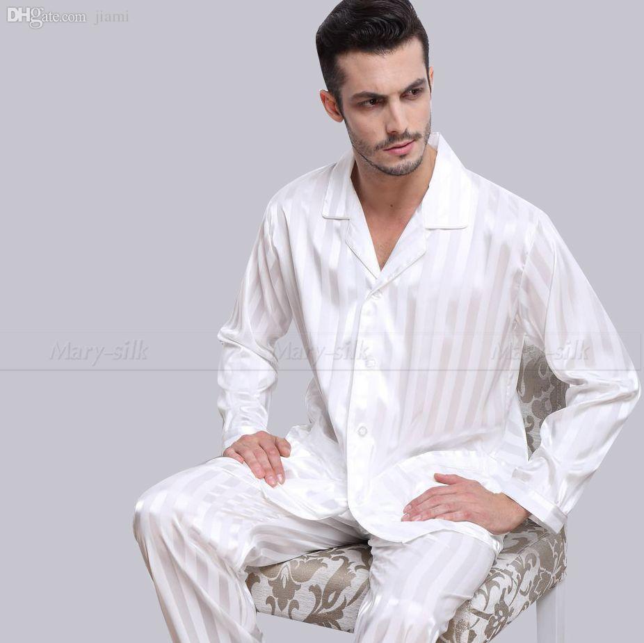 Ensemble de pyjamas en satin de soie pour hommes en gros Ensemble de pyjamas de pyjama PJS Ensemble de vêtements de nuit S, M, L, XL, 2XL, 3XLL, 4XL Plus