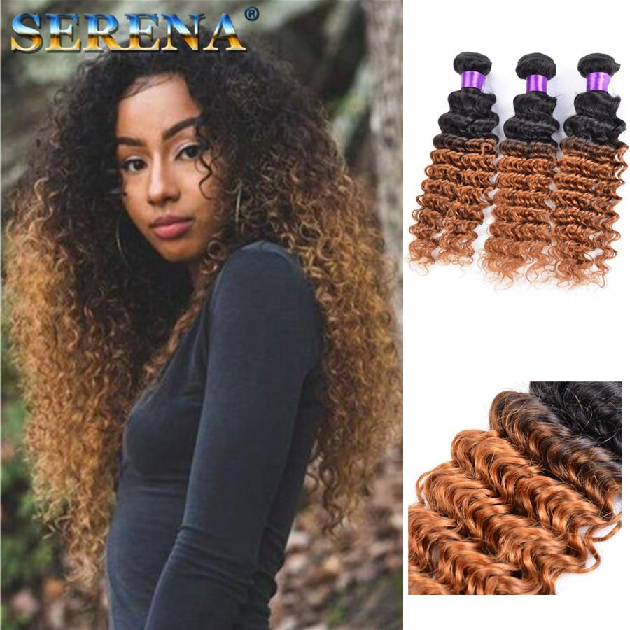Dark Honey Blonde Hair Colorful 1b 30 Blonde Dark Root Ombre Brazilian Deep Wave Curly Human Hair Weave Weft Extensions 3 Bundles Best Hair Weaves