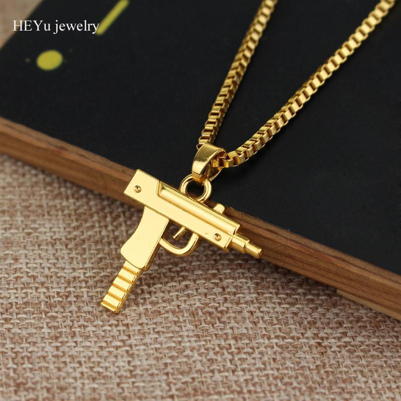 Persönlichkeit Hip Hop Uzi Gun Halsketten Anhänger Rose Gold Kette Halskette Für Männer Frauen Partei Erklärung Schmuck Zubehör Weihnachtsgeschenk