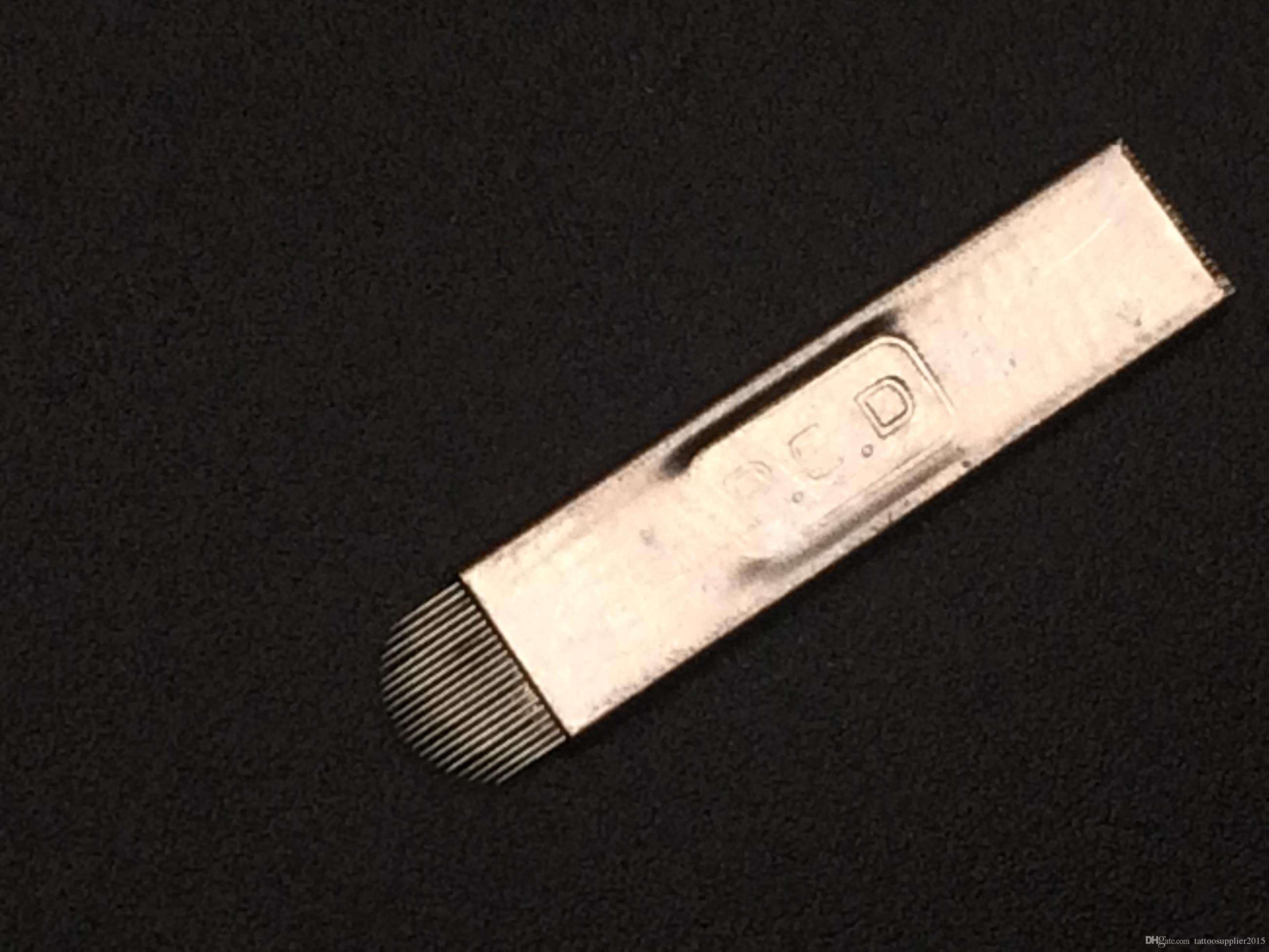 100PCS plus récent aiguilles 21PIN forme de U maquillage lame sourcils manuel permanent aiguilles de tatouage professionnel 3D main broderie Microblading