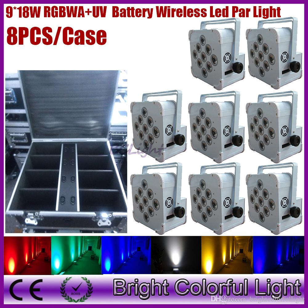 (8lights+1 fly case/lot) RGBWA+UV 6 in 1 led battery operated wireless dmx led uplighting/wireless dmx led stage light/led wedding uplights