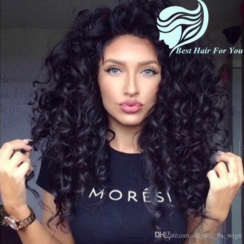 Medium Length Kinky Curly Full Lace Human Hair Wigs with Baby Hair Bleached Knots Curly Lace Front Wigs