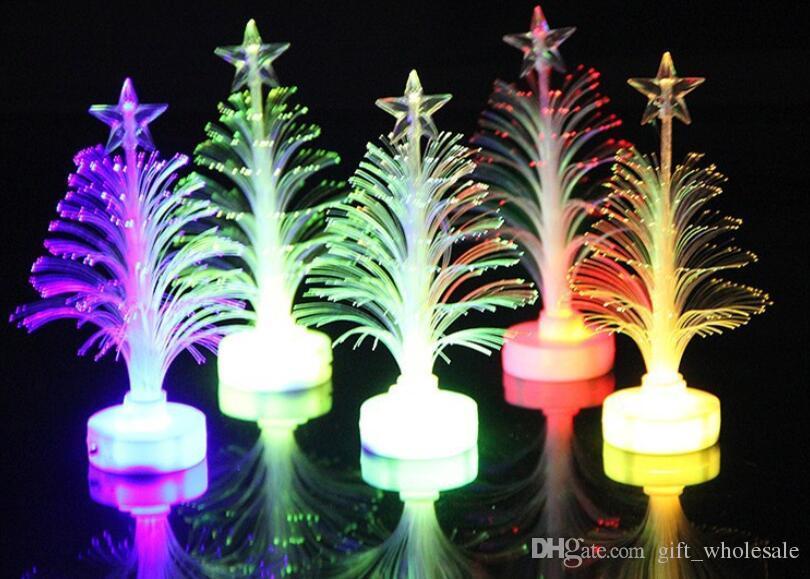 Christmas Decorations Acrylic Optical Fiber Mini Multi Flashing Christmas Tree LED flash bar party celebration props gifts