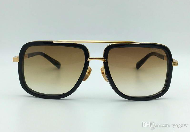 Мужчины Черный и золото квадратные солнцезащитные очки 2030 Titanium Gold Brown Gradient Lenes Мода Vintage солнцезащитные очки очки с Case