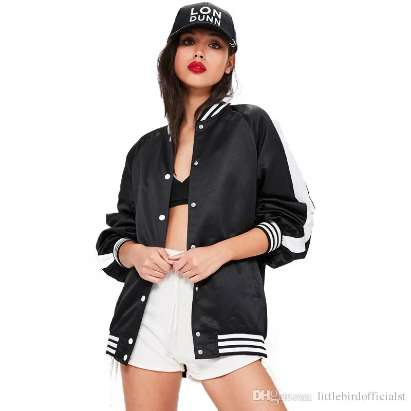Fashion Women Jackets Hip Hop Streetwear Baseball Jacket Black White Color Block Tie Back Biker Letter Print