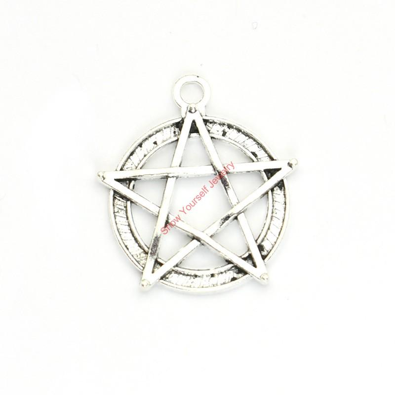 15pcs Antique Silver Plated Pentacle Star Charms Pendants for Bracelet Jewelry Making DIY Necklace Craft 31x28mm
