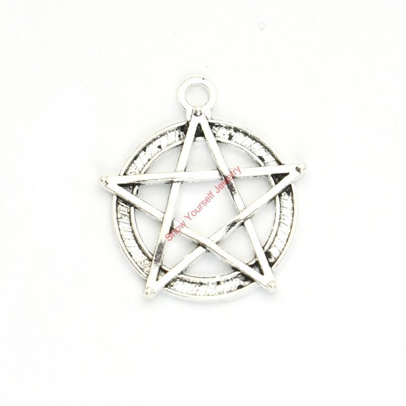 15 stücke Antikes Silber Überzogene Pentacle Star Charms Anhänger für Armband Schmuck Machen DIY Halskette Handwerk 31x28mm