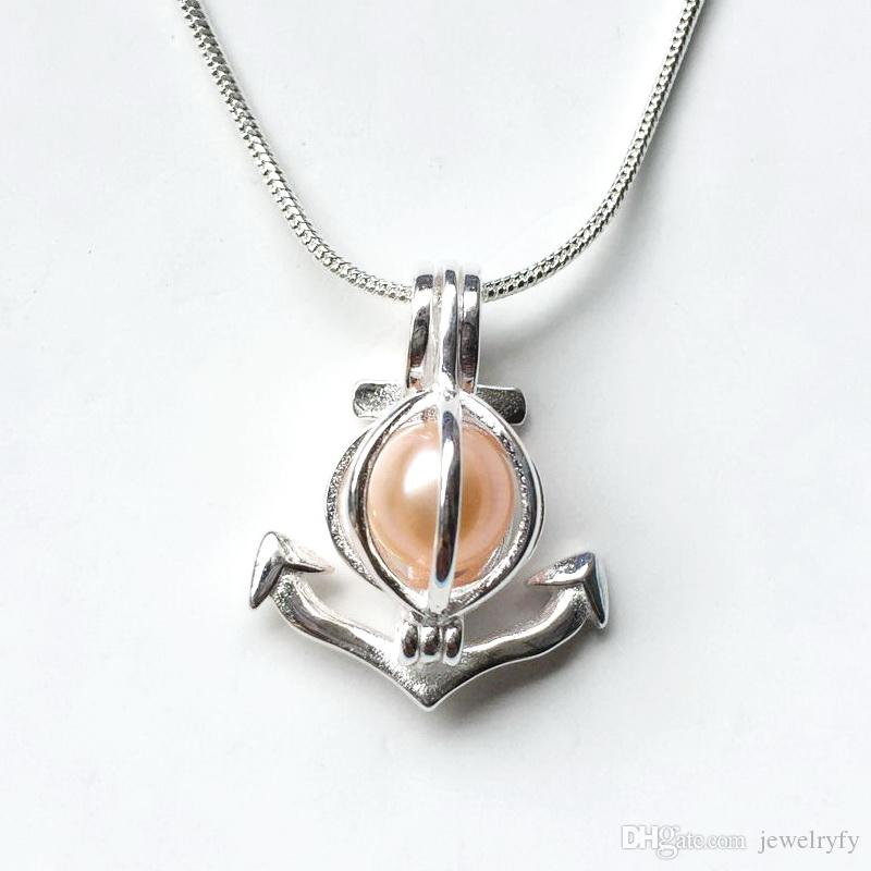 Anker Perle Anhänger Montage, 925 Sterling Silber Medaillon Käfig Anhänger, öffnen und halten 8,5 mm Perlen Charms für DIY Schmuck machen