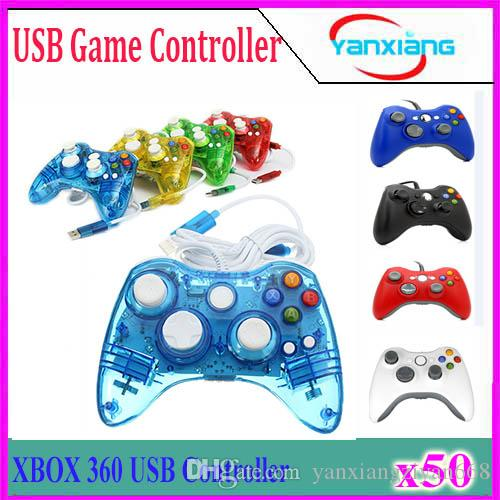USB Wired Joypad Gamepad Controller For Microsoft for Xbox Slim 360 Black Color Joystick Game Controller 50PCS YX-360-1