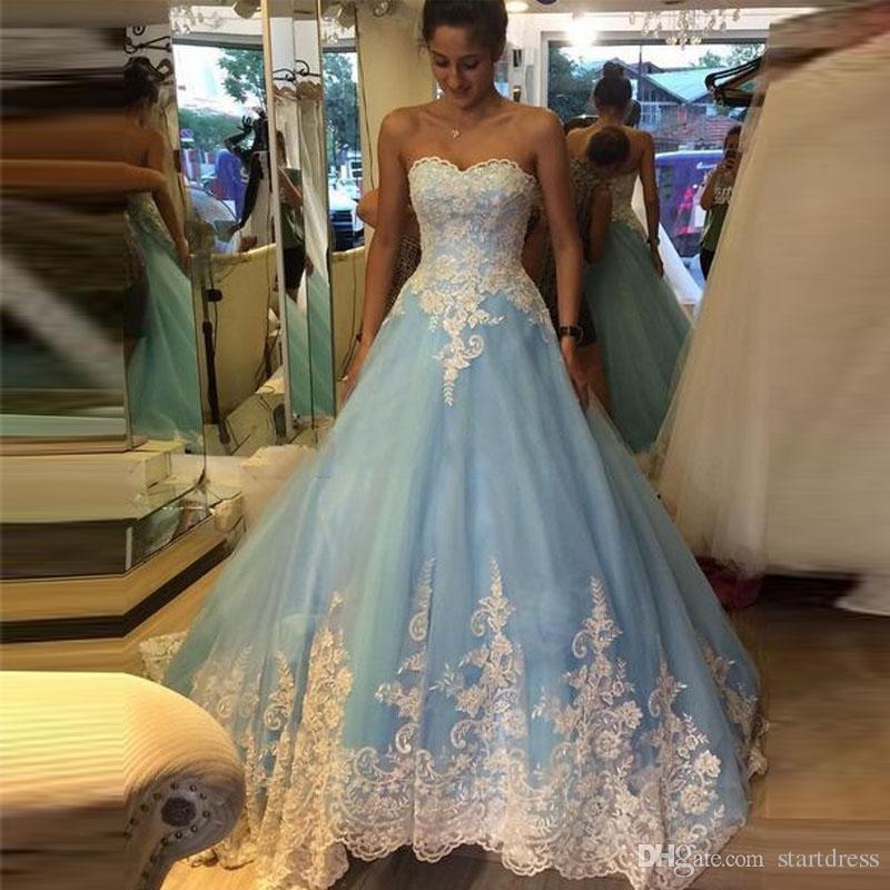 Großhandel Romantische Blaue Ballkleid Brautkleid Sexy Schatz Spitze ...