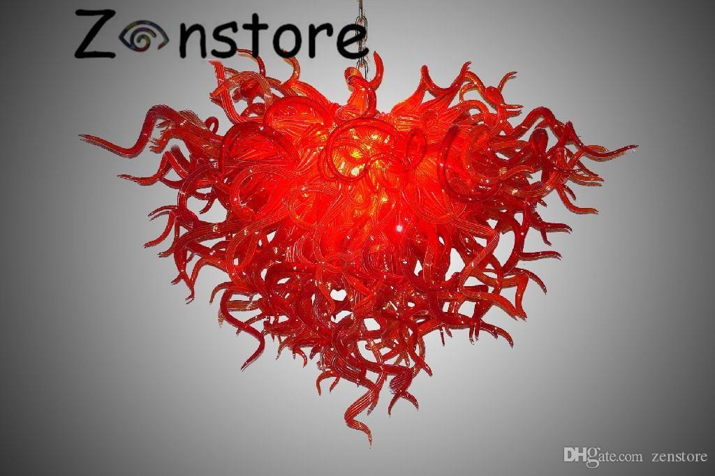 الصينية الأحمر الثريا - 100 ٪ الفم في مهب البورسليكات مورانو فن الزجاج رومانسية روبي الأحمر إضاءة الثريا المعاصرة