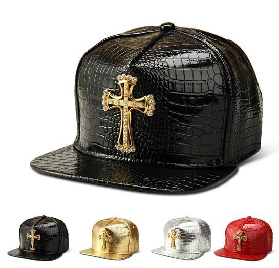 Sombreros de béisbol de la PU Cruz sólida Jesús colgante Casual Snapback Cap Rhinestone Logo Hip Hop rap snapback para hombres mujeres de oro plata