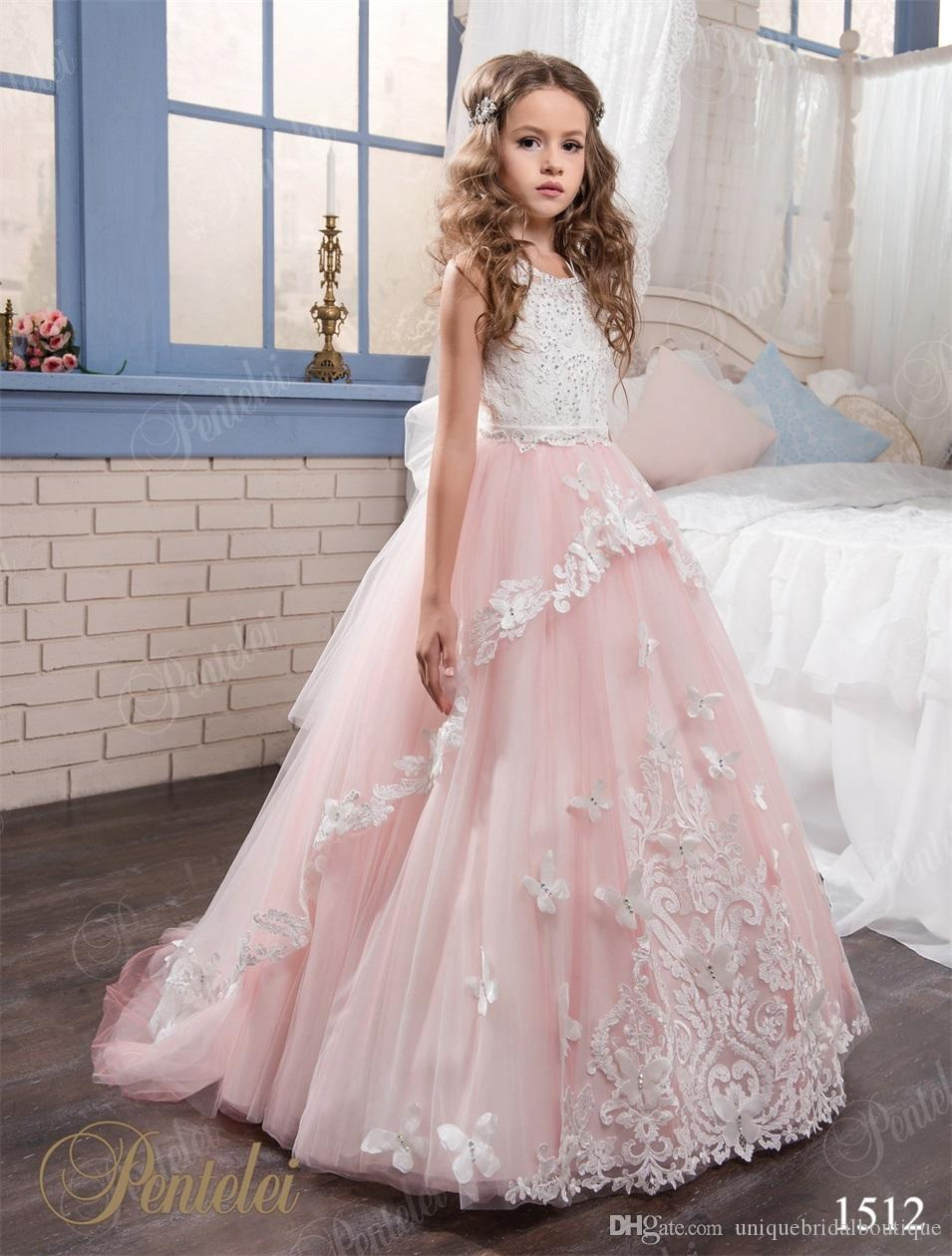 bd9c69eba 2017 Blush Flower Girls Dresses Pentelei with Jewel Neck and Keyhole Back  Appliques Crystals Tulle Floor Length Mother Daughter Gowns