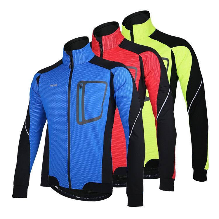 Langarm-Winter-warme Thermal Radjacke ARSUXEO winddicht atmungsaktiv Sportjacke Fahrradbekleidung Radfahren MTB Jersey 3 Farbe