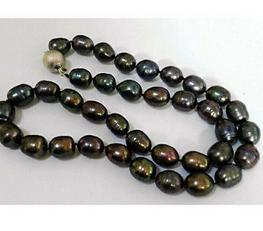 Classic 12-13mm south sea baroque black green pearl necklace 18 inch S925 silver